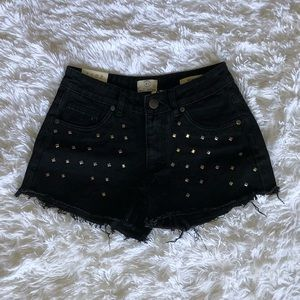 New Black Studded Shorts